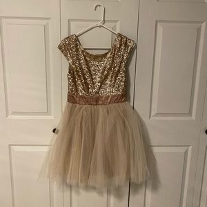 Gold Sequin Tulle Formal Dress